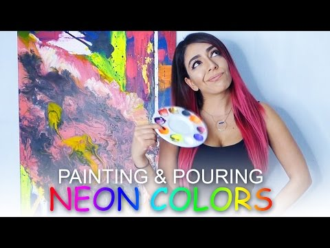 Fluid Acrylic Pouring Neon Painting