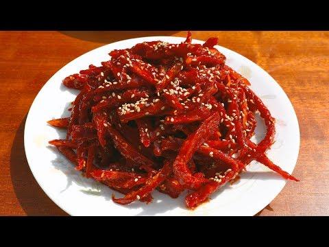 Dried shredded pollock seasoned with gochujang (Bugeopo gochujang-muchim: 북어포 고추장무침)