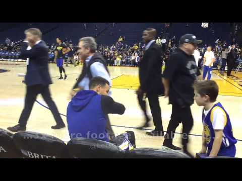 Steph Curry pregame shooting and autographs before Klay arrives, Oracle Arena before Warriors play