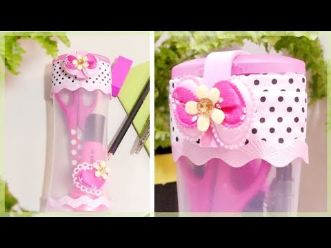DIY PENCIL CASE: How to Make a Cute No Zipper Pencil Case from Plastic Bottle