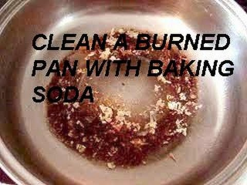 quick tip, clean a burned pan with baking soda, how to diy
