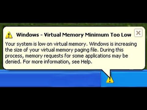 Windows-Virtual Memory Minimum Too low