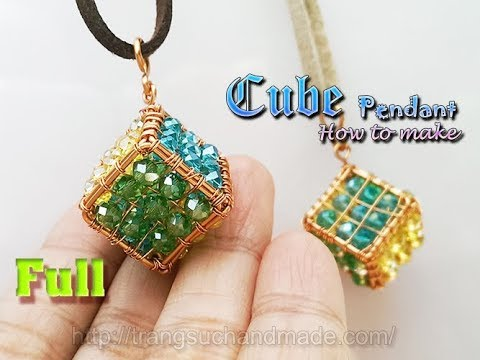 How to make cube pendant from copper wire and small stone - full (slow) 365