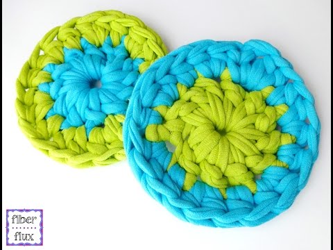 How To Crochet T-Shirt Yarn Coasters, Episode 214