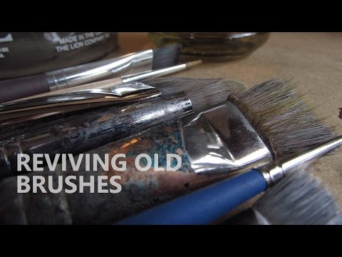 How to restore old dried up oil painting brushes