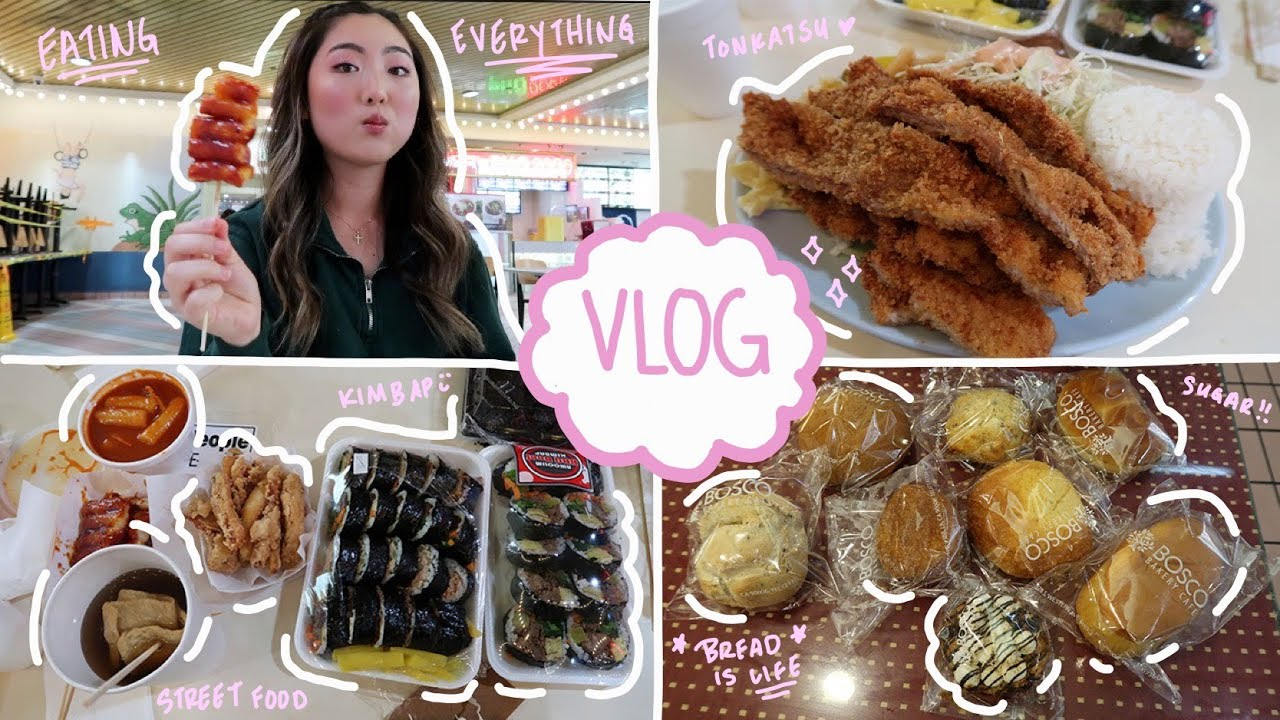 Eating EVERYTHING at KOREATOWN PLAZA 🇰🇷| FATHER'S DAY VLOG (food court, pastries, + kpop)