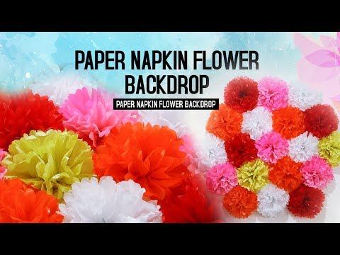 Paper Napkin Flowers Backdrop | Party Deco Ideas