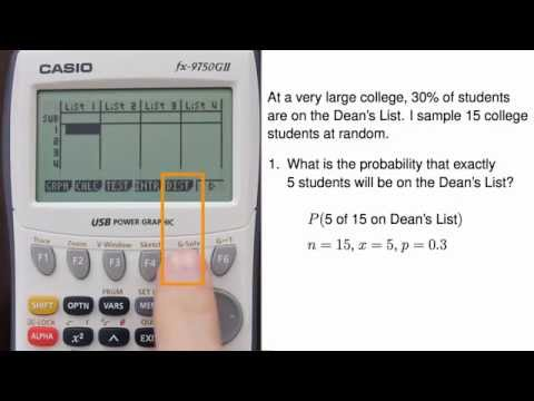 Casio fx-9750GII - Binomial Formula (Distribution, Including Cumulative Distribution)