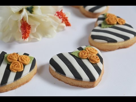 Striped Black and White Fodant Covered Cookie