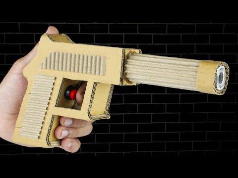 How to make Cardboard Gun USP Pistol that shoots Rubber Bullets DIY at Home