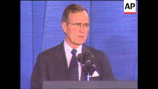 President George H W Bush Speaks At The National Institutes Of Health