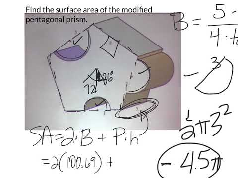 Surface area of a modified pentagonal prism