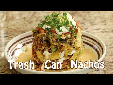 Trash Can Nachos With Homemade Pork, Enchilada Sauce, Cheese Sauce, Guacamole | Rockin Robin Cooks