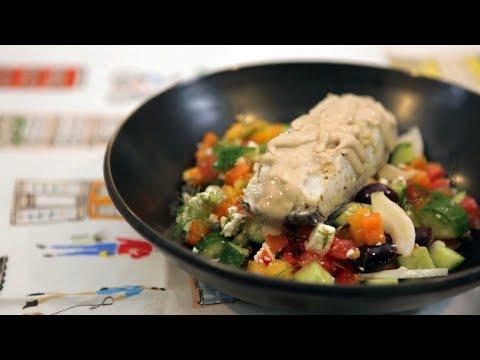 Grilled Sea Bass with Fennel Greek Salad