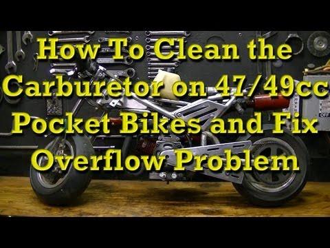 How to remove and clean Mini Pocket Rocket Bike carburetors and Fix the Overflow Problem