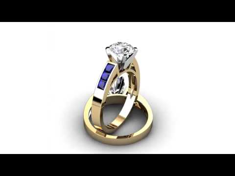 Natalie Diamonds - Princess Cut Blue Sapphire Engagement Ring