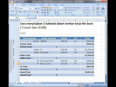 Excel 2007 Tutorial |Cara menghitung dengan insert 2 subtotal excel (2)