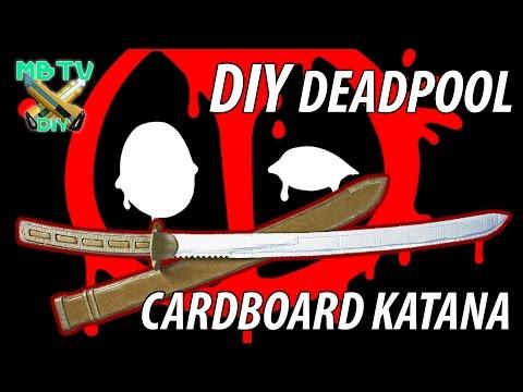 Deadpool Movie DIY Cardboard Sword / Katana with Display Board