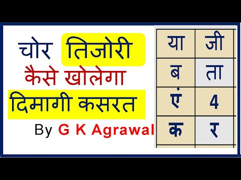 Mind Puzzle, Paheliyan with answer in Hindi - तिजोरी का ताला