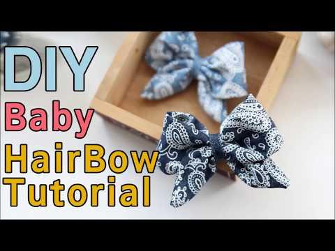 How to make a Baby Hair Clip/DIY fabric bows/ fabric hair bows tutorial/유아헤어핀 만들기