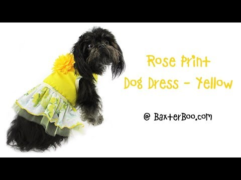 Rose Print Dog Dress - Yellow