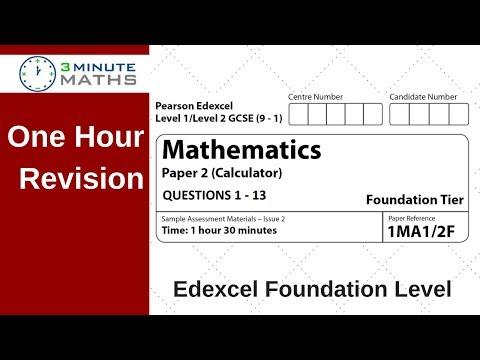 Edexcel Foundation Paper 2 Calculator Revision - Questions 1 - 13