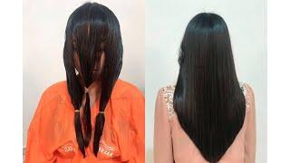 Corte en v en capas cabello corto
