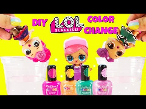 LOL SURPRISE D.I.Y. Mood Color Change Nail Polish Doll Face, Brr BB, Miss Punk