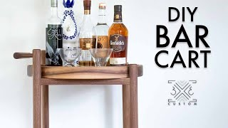 How to Build a Modern Bar Cart // Round Tray // Dowel // DIY Woodworking