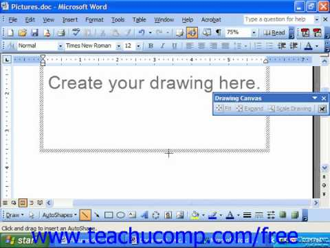 Word 2003 Tutorial Inserting Lines, Arrows Revtangles & Ovals Microsoft Office Training Lesson 14.2