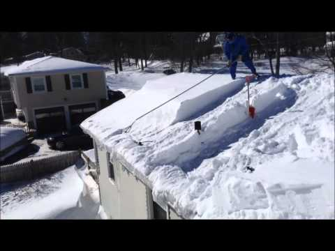 Roof Clearing with Avalanche Type Snow  Rake