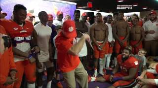 Dabo Swinney dances in locker room after Clemson victory
