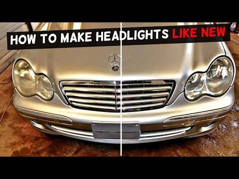 HOW TO RESTORE HEADLIGHTS DEMONSTRATED ON MERCEDES W203 C320