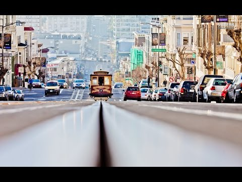 Famous dangerous exhilarating tram ride World Most Crooked Lombard Street San Francisco California