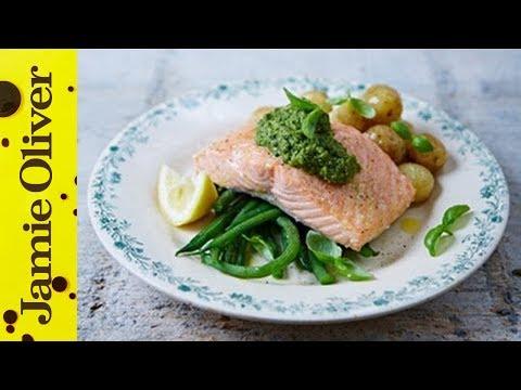 Pan-fried Salmon & Pesto Veg | Jamie Oliver