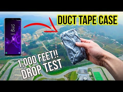 Duct Tape Case! Can it survive a 1,000 feet DROP?! Samsung Galaxy S9   in 4K