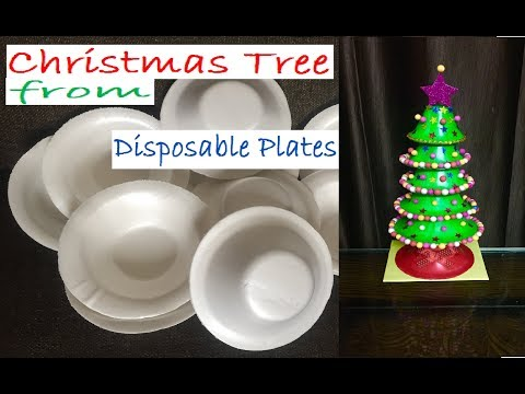 Make a Christmas Tree from Disposable Plates | Plastic plates reuse | DIY Xmas Decoration Ideas