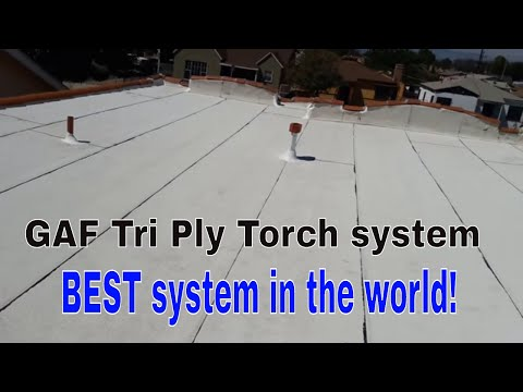 TORCH DOWN ROOFING Installation ...GAF Cool Roof system!
