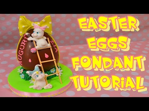 easter eggs rubbit cake topper fondant tutorial - coniglio pasta di zucchero  uova pasqua decorate