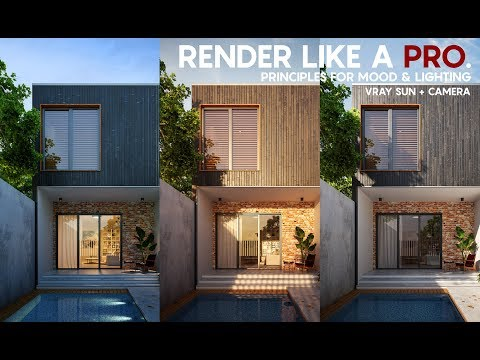 Render like a Pro...Exterior rendering tutorial... Vray sun + Camera tricks for lighting and mood