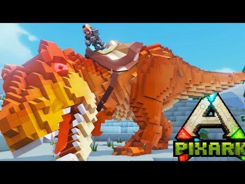 PixARk - TURNING INTO A WEREWOLF! TAMED T REX WRECKS! - Ark PIXARK Gameplay