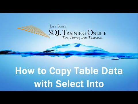 SQL Into - How to Copy Table Data with Select Into Statement - SQL Training Online