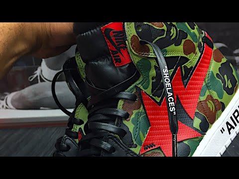 HOW TO: Custom Bape X Off White Jordan 1 Shoe Painting Tutorial