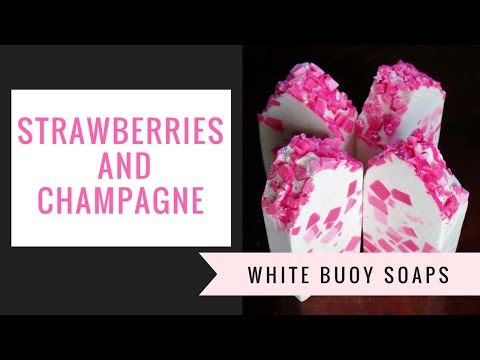 Stawberries and Champagne/Cold Process Soap Making/Tallow Soap/White Buoy Soaps
