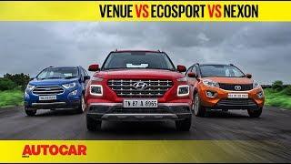 Hyundai Venue vs EcoSport vs Nexon - Petrol Automatic | Comparison Test Review | Autocar India