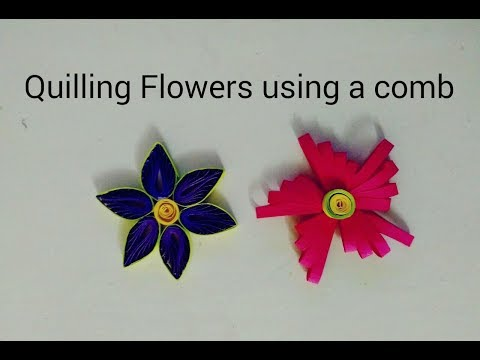 DIY-Easy Quilling Flowers using a comb-How to make quilling paper flower|ValentineGift