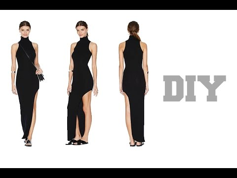 DIY Nasty Gal Inspired Turtleneck Maxi Dress With Split (Easy Sewing)