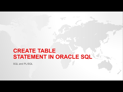 CREATE TABLE STATEMENT IN ORACLE SQL