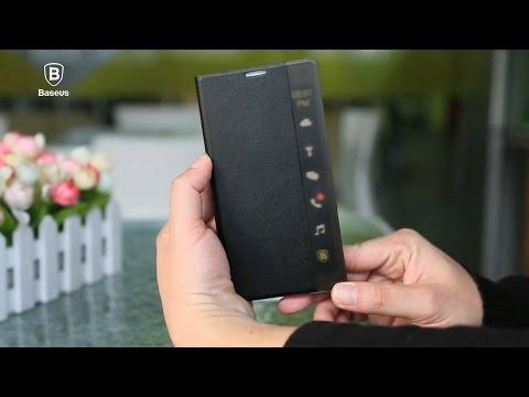 Baseus APP Intelligent Transparent Side Window Smart Cover Case for Galaxy Note 4 & Alpha