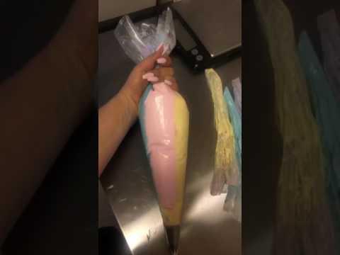 Rainbow buttercream for unicorn cake tutorial - June 11, 2017